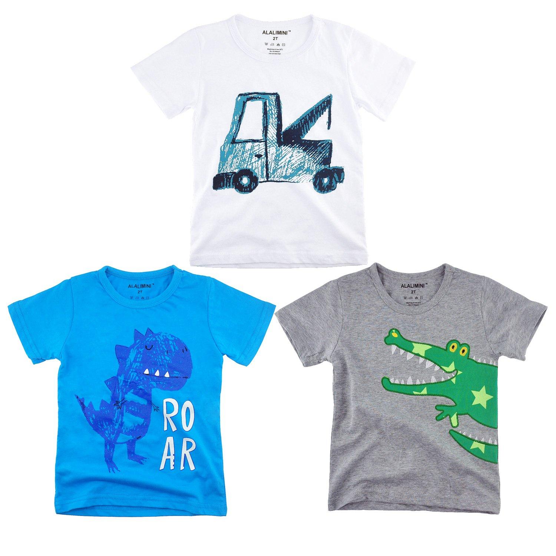 ALALIMINI Baby Toddler Boy's T-Shirt Short Sleeve Crew Neck 3-Pack(3T)