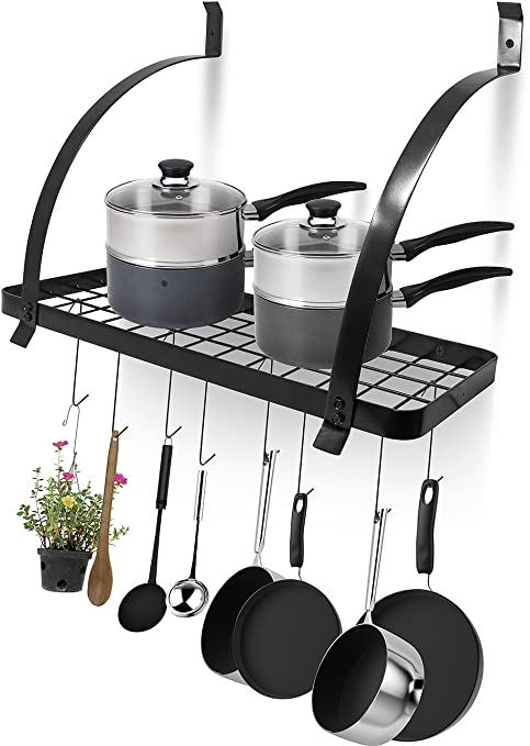 Sorbus Kitchen Wall Pot Rack with Hooks — Decorative Wall Mounted Storage  Rack — Multi-Purpose Shelf Organizer Great for Kitchen Cookware, Utensils,  ...