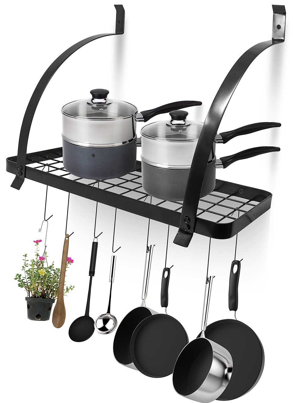 Sorbus Kitchen Wall Pot Rack with Hooks — Decorative Wall Mounted Storage Rack — Multi-Purpose Shelf Organizer Great for Kitchen Cookware, Utensils, Pans, Books, Household Items, Bathroom (Black)