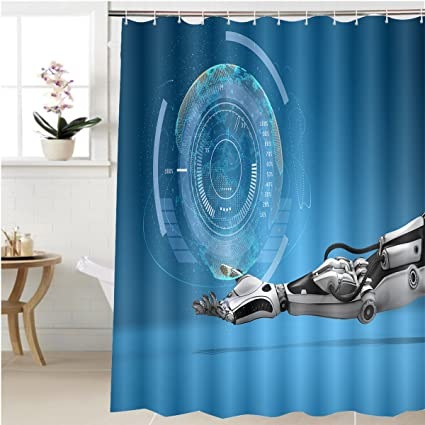 Amazon.com: Gzhihine Shower curtain futuristic android hand holding ...