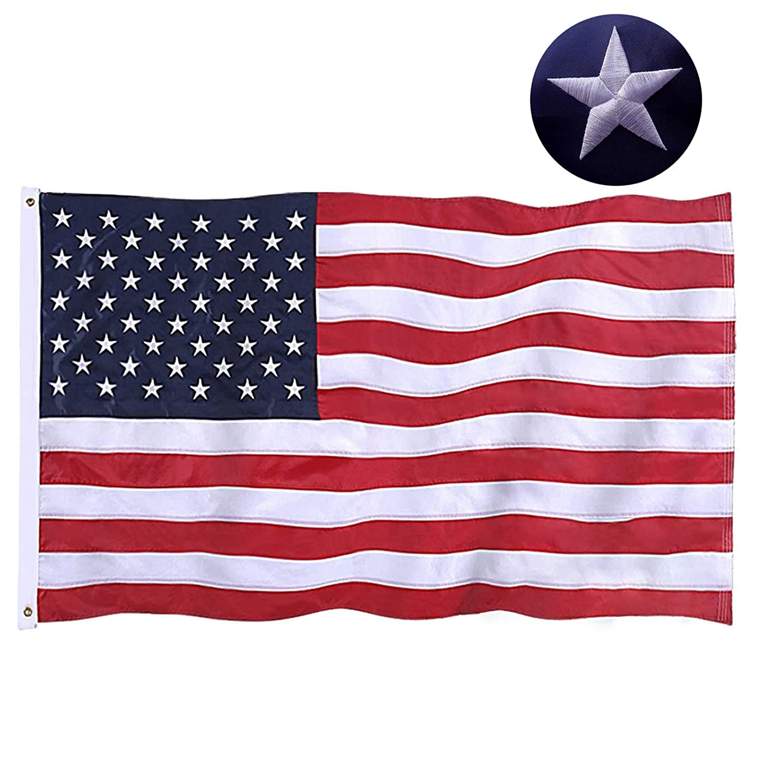 Jetlifee American Flag 2 5x4 Ft Embroidered Stars Sewn Stripes Brass Grommets Us Flag Decorations Outdoors Indoors Usa Flags Polyester 2 5 X 4 Foot Garden Outdoor