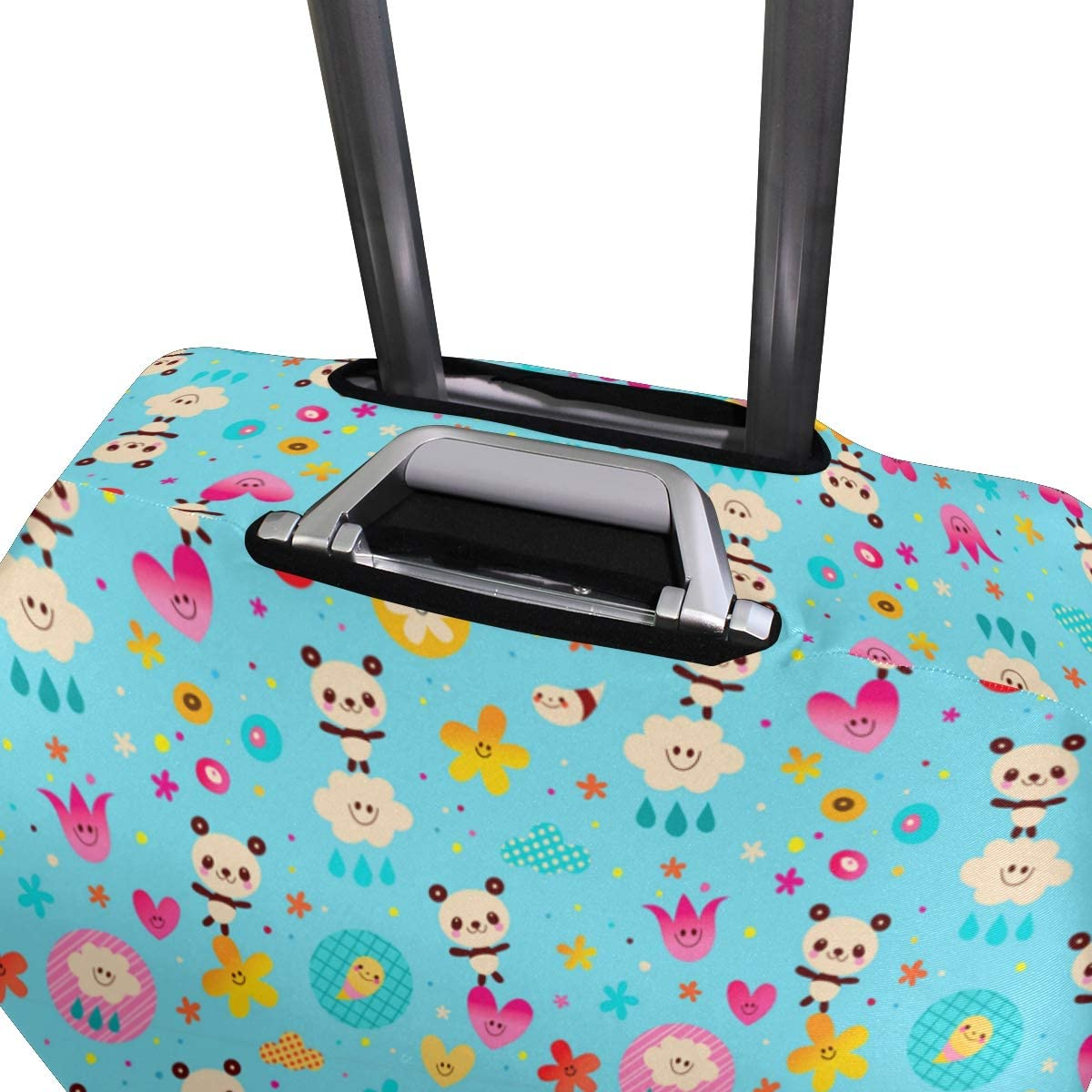 Fashion Travel Cute Panda Art Blue Luggage Suitcase Protector Washable Baggage Covers
