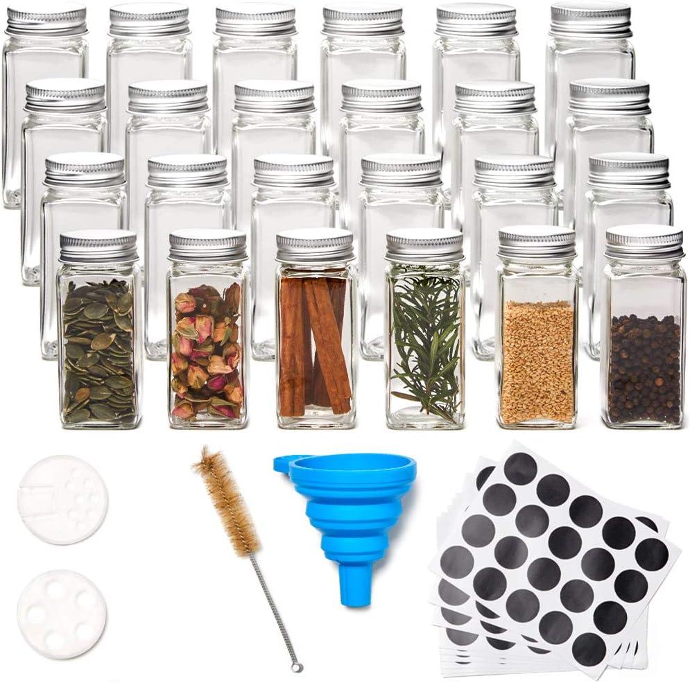 EZOWare Tarros de Cristal de Especias 24pcs y Set de Accesorios, 120 ml Botes Contenedores Vacios de Vidrio con Tapa Hermético, Embudo, Pincel y Etiquetas