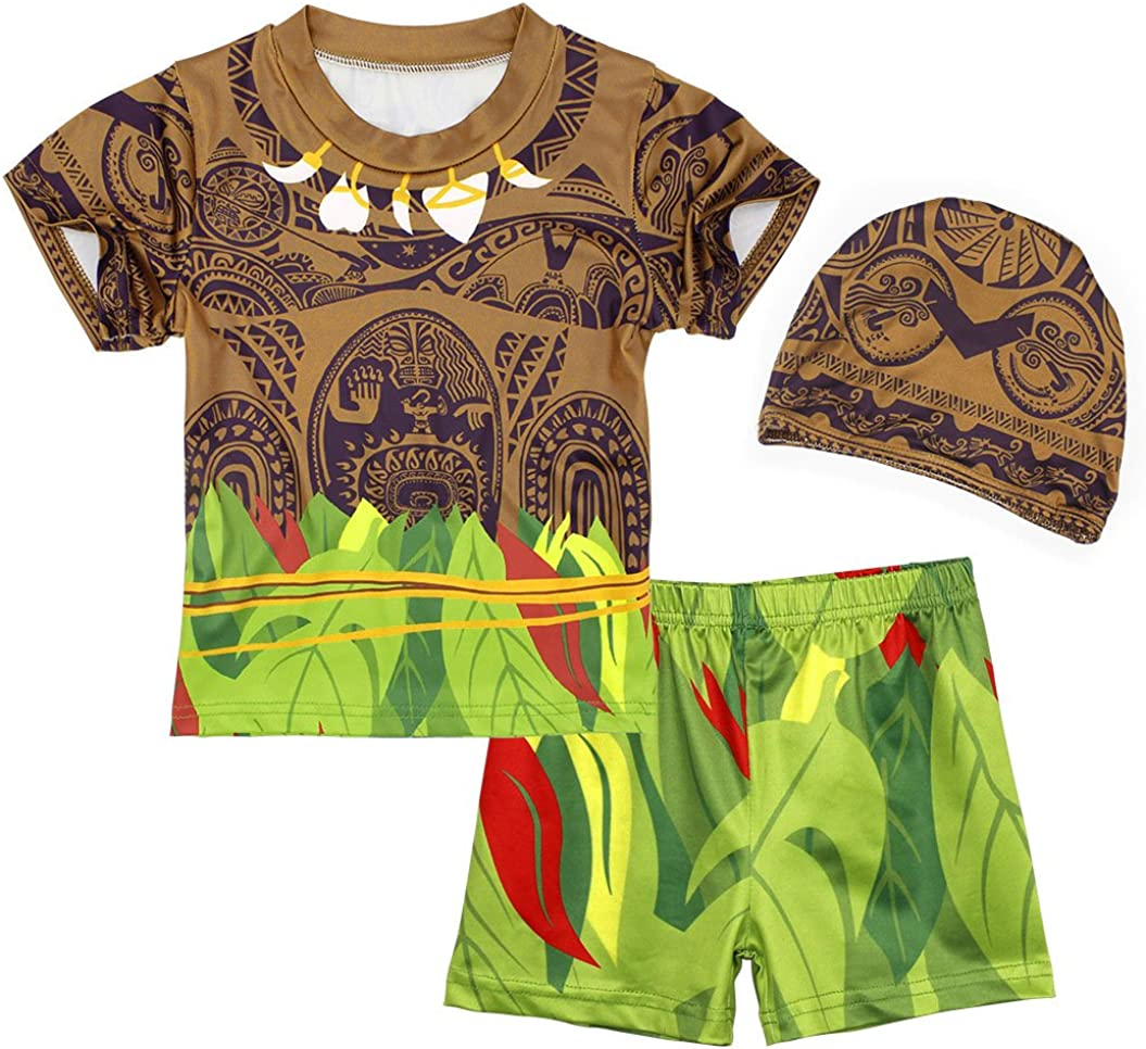 WonderBabe Maui Swimsuit Boys 3 Piece Swimming Costume Kids Child Swimwear with Cap Summer Holiday Beach Wear Bathing Suit