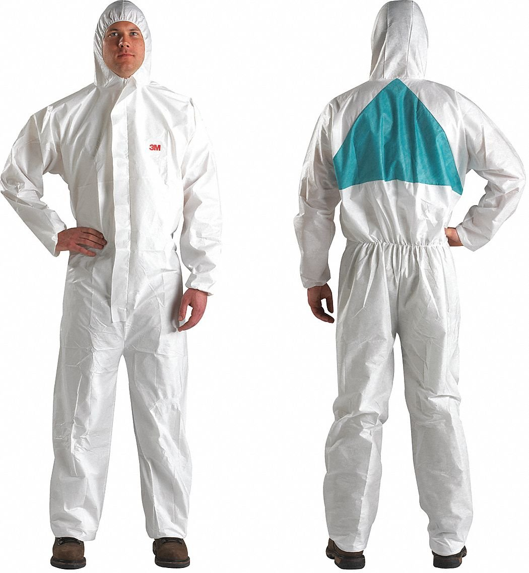 3m Hooded Disposable Coveralls with Knit Material, White/Green, XL XL White/Green SMMMS 4520-XL - 1 Each