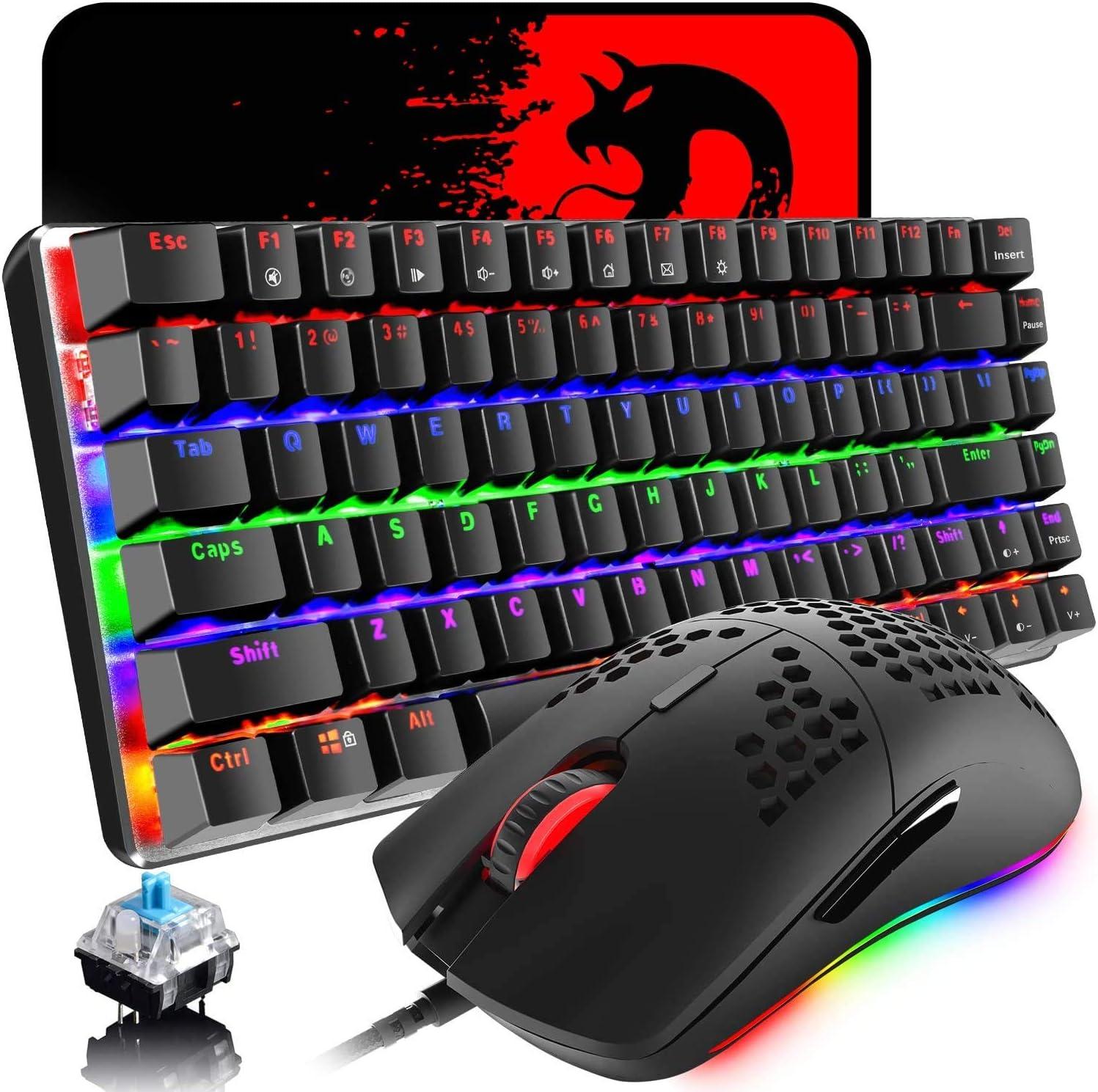 Teclado y mouse mecánicos para juegos,retroiluminación LED arcoíris USB tipo C Teclado con cable Teclas anti-fantasma + Mouse para juegos RGB 6400 ...