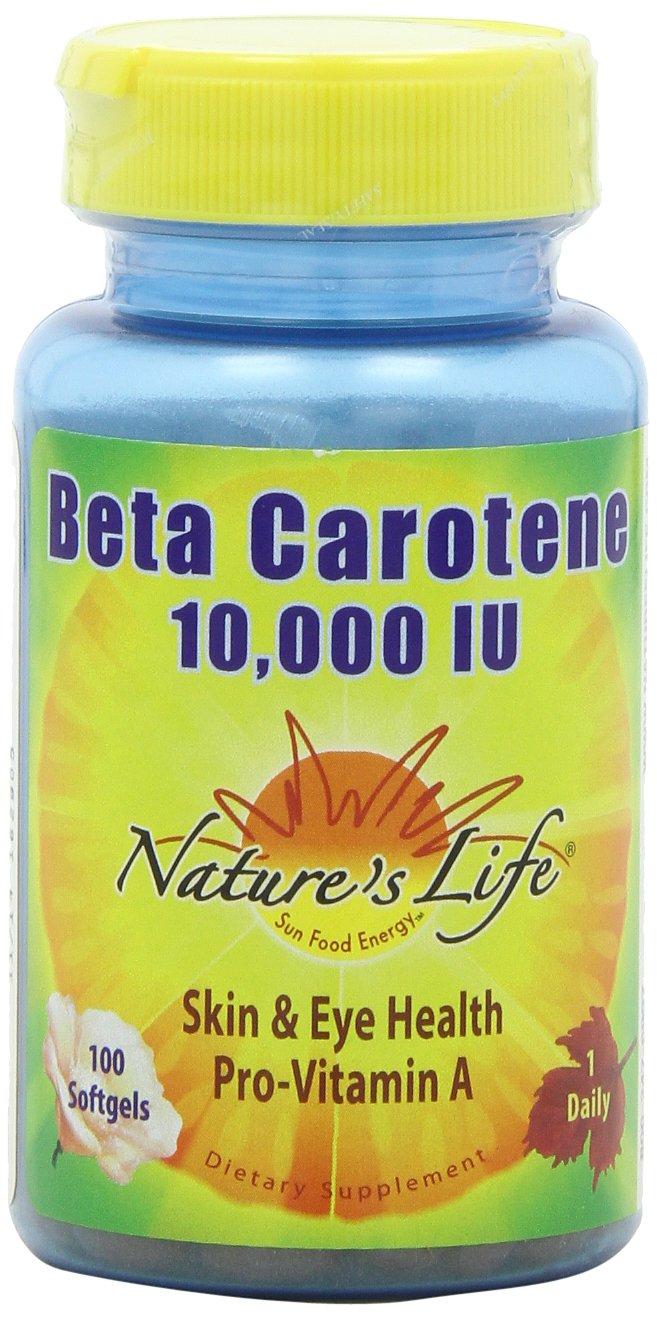 Nature's Life Beta Carotene 10,000 IU , 100 Softgels,  (Pack of 2)