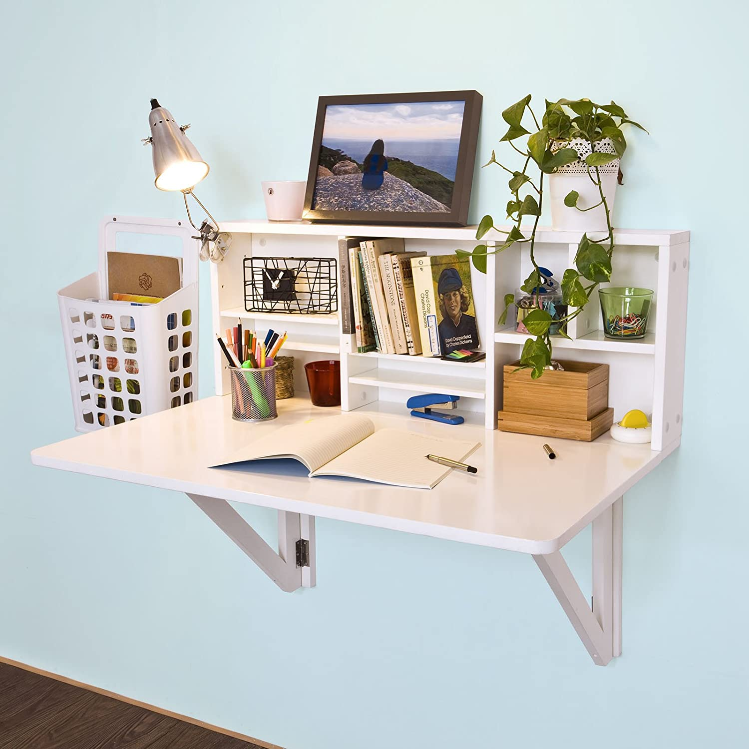 Haotian FWT07-W,White Folding Wooden Wall-Mounted Drop-Leaf Table Desk Integrated with Storage Shelves