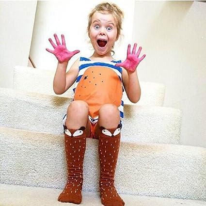 Koly® Niños Fox Calcetines de Rodilla del patrón; Niños calcetines altos pare años (6, Café): Amazon.es: Hogar