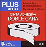 Plus Office 63Q - Cinta adhesiva doble cara, 18 mm x 10 m, crema