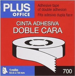 Plus Office 63Q - Cinta adhesiva doble cara, 19 mm x 10 m, crema