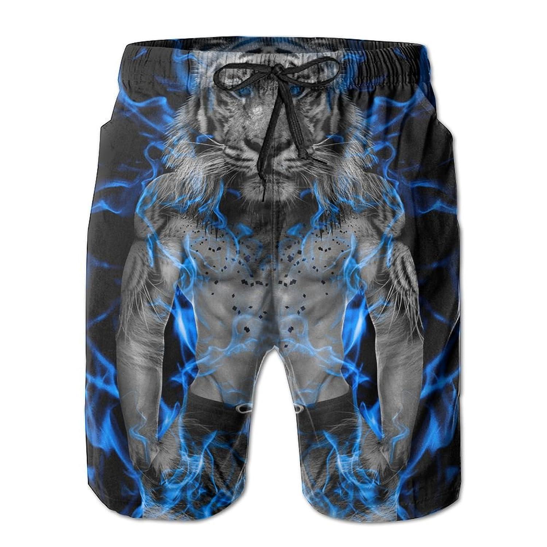 Qpkia Blue Fire Tiger Wallpaper Men Swimwear Volley Pants Pocket