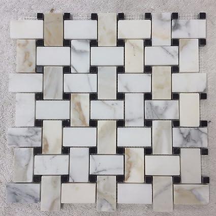 Waterworks Keystone Basketweave Mosaic In Calacatta Nero