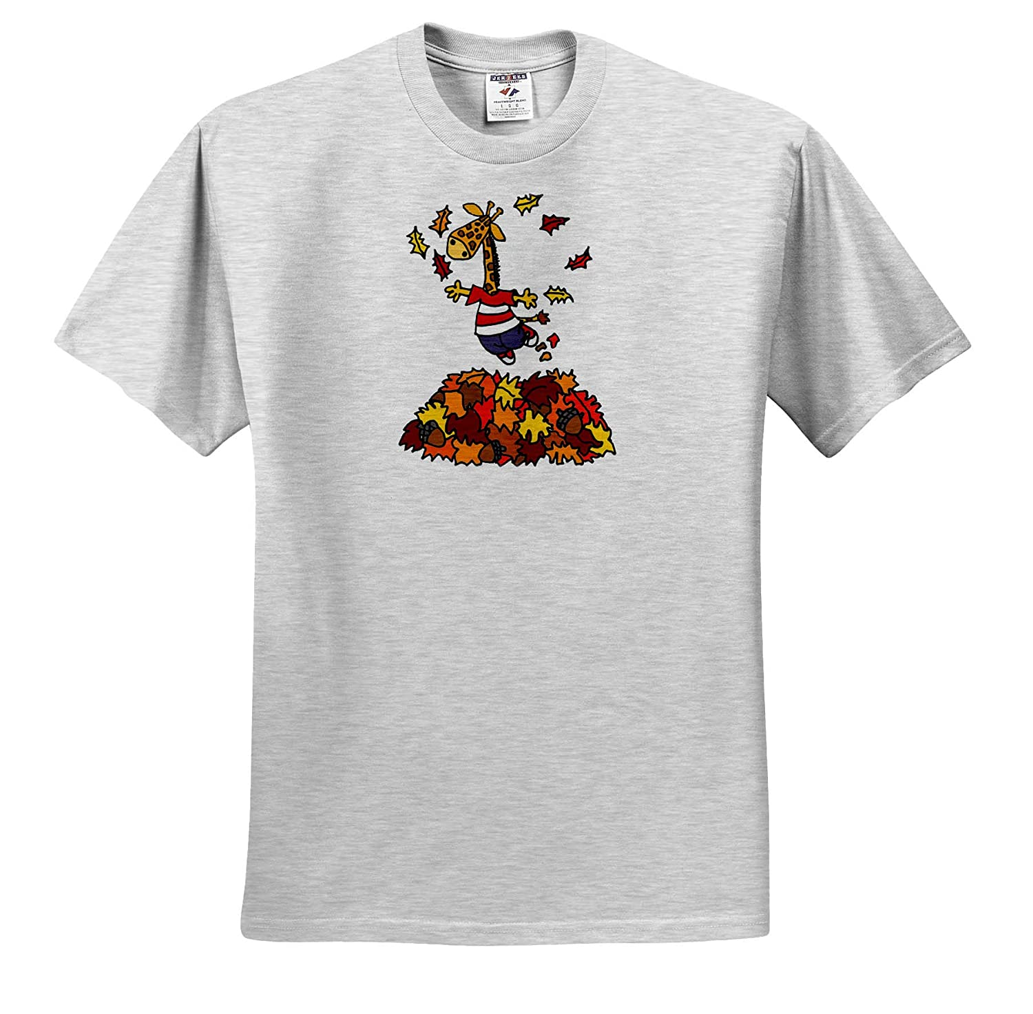 Funny T-Shirts Cute Funny Giraffe Jumping in Leaf Pile Cartoon 3dRose All Smiles Art