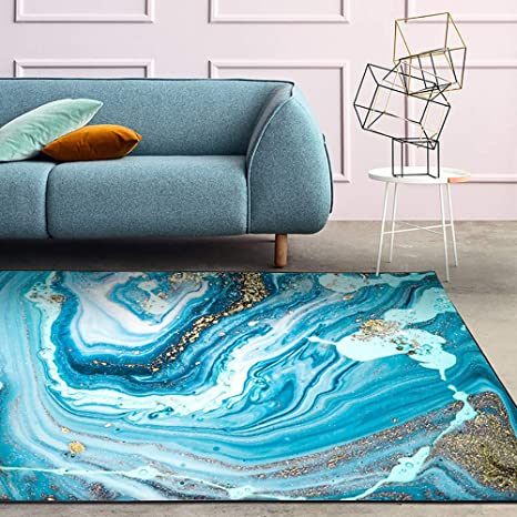 Amazon Com Area Rug Abstract Lines Living Room Bedroom Blue White Durable Modern Carpet Size Home Decor Carpets 2 5 X 9 Kitchen