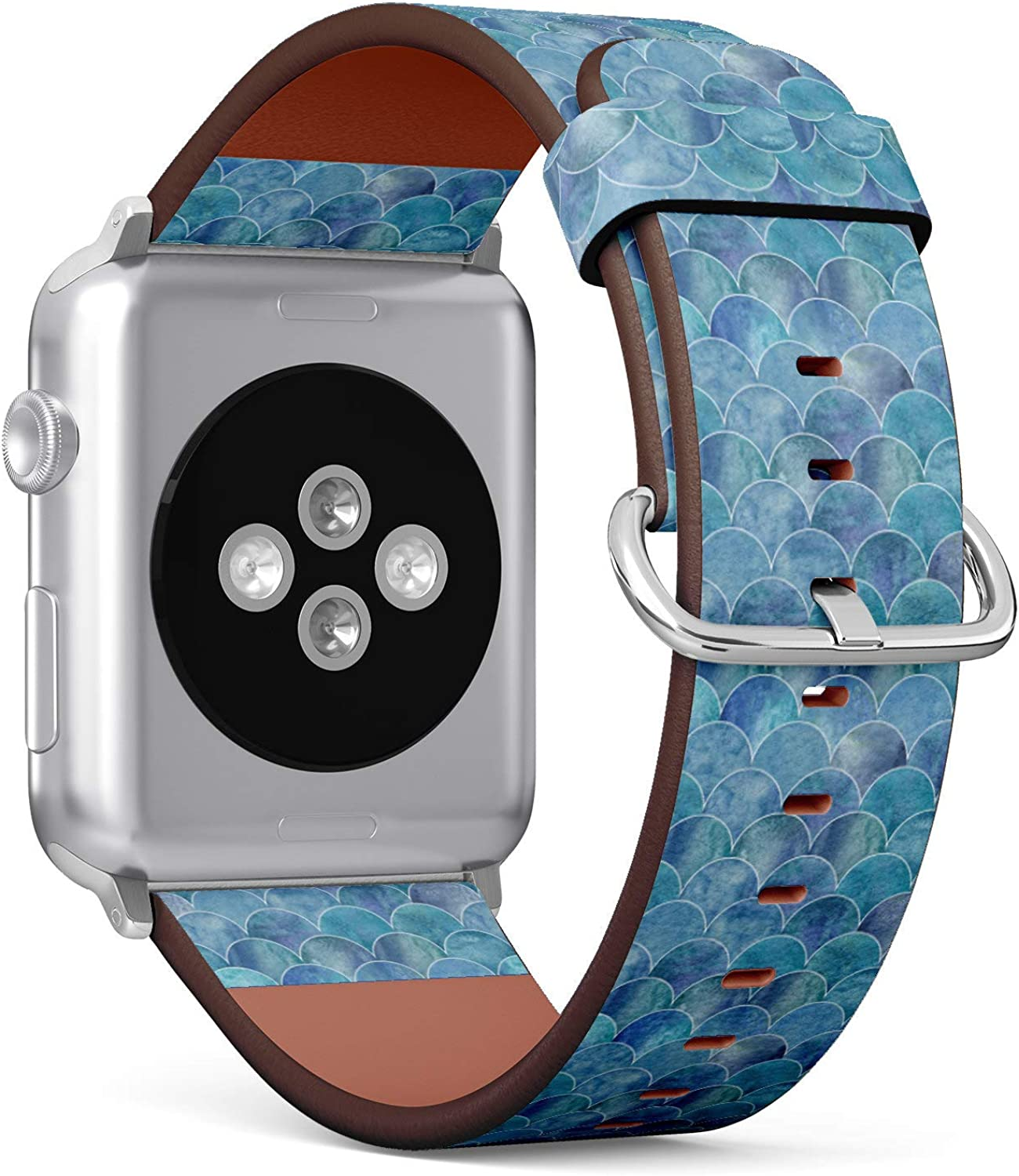 (Mermaid Scale Ocean Wave Pattern) Patterned Leather Wristband Strap for Apple Watch Series 4/3/2/1 gen,Replacement for iWatch 38mm / 40mm Bands