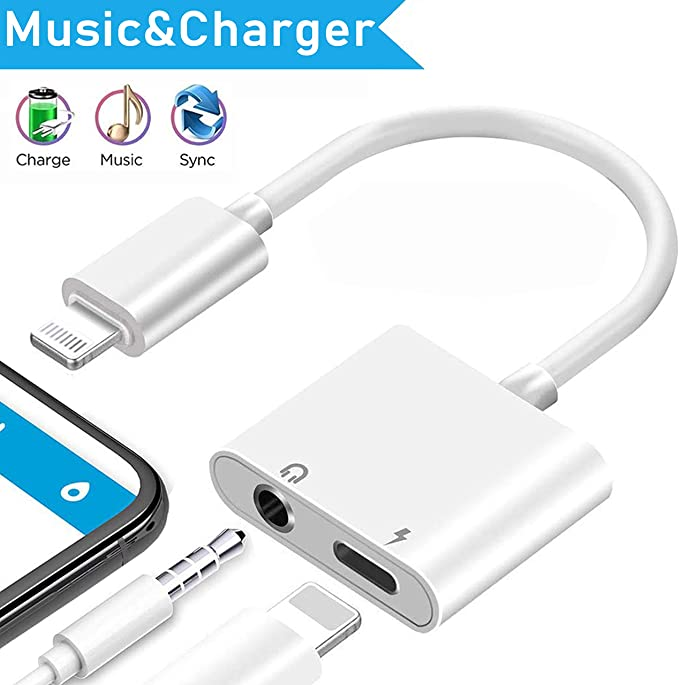 Lightning to 3.5mm Headphone Adapter for iPhone 8//8Plus,2 in 1 Lightning to 3.5mm Earphone Audio /& Charger Splitter Adapter Compatible for iPhone 11//11 Pro//X//XR//XS//8 7 6 Plus Apple MFi Certified