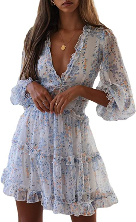 70s Clothes | Hippie Clothes & Outfits Dokotoo Womens Square Neckline Long Sleeve Floral Print Mini Dress $32.98 AT vintagedancer.com