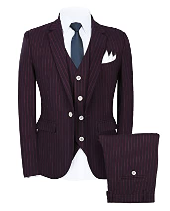 c04bf89f440a Mens Pinstripe Suit 3 Piece Slim Fit Casual Dress Suits Blazer+Vest+Pants US
