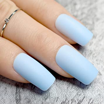 Amazon.com : Pure Light Blue Matte Fake Nails Medium Flat 24pcs ...