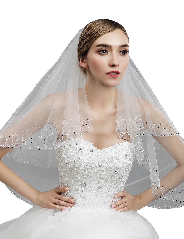Sarahbridal Women's 2-Tier Tulle Beaded Edge Bridal Veil for Wedding Dress 11053 White