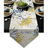 HELLOWINK 90Inch Burlap Table Runners, Vintage Floral Plant, Cotton Linens Table Runner Cloth for Wedding Dinning Room Partie