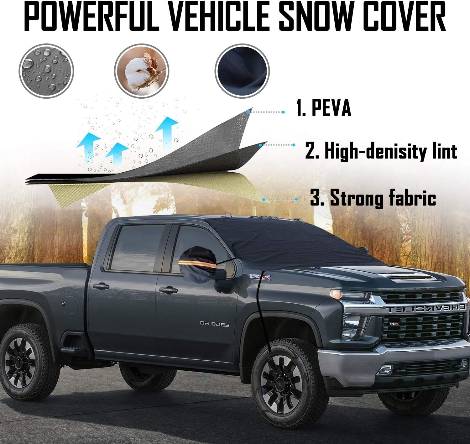 4 Layers Material Protection Large Size 86x 50 Hooks Design No Scratch Paint Car Windshield Snow Cover with Mirror Snow Covers All Season Protection Fits for Most Vehicles