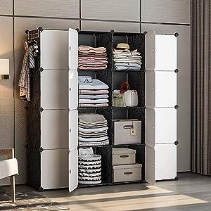YOZO Cube Storage Organzier Portable Wardrobe Closet Bedroom Dresser (56x18x56 inches) Pantry Cabinet Portable Closet Cube Shelf Armoire, 16 Cubes, Black