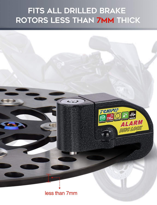 Amazon.com: Tchipie Disc Brake Lock - Alarm Disc Lock 110dB Siren Anti Theft Waterproof Motorcycle Wheel Lock with 5ft Reminder Cable 3 Keys for Brake Rotor ...