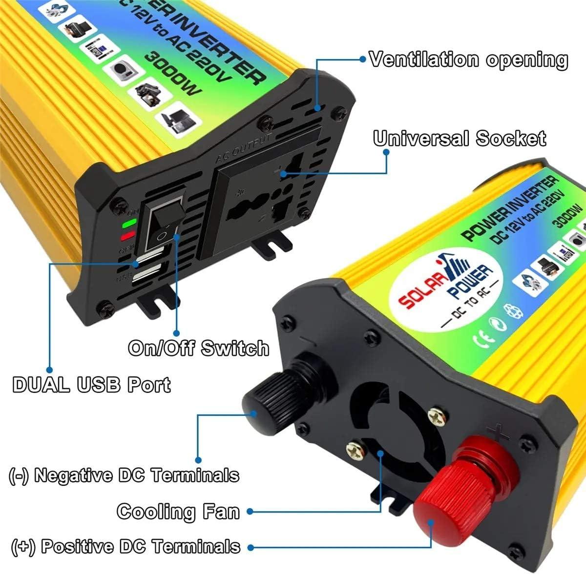 Wechselrichter DC 12V bis 220V AC Boots-Auto-Inverter USB-Ladeger/ät 3000W Converter Power Inverter