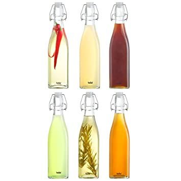 VonShef Set de 6 Botellas Estilo Vintage de Vidrio con Tapón de Clip – 500ml