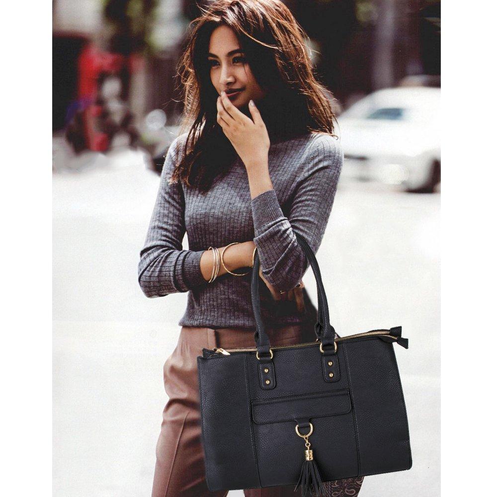 Eva & Evan 2018 New Women Satchel Handbags Shoulder Bag with Tassels Top Handle Large PU Leather Adjustable Strap Black by BAYTTER (Image #3)
