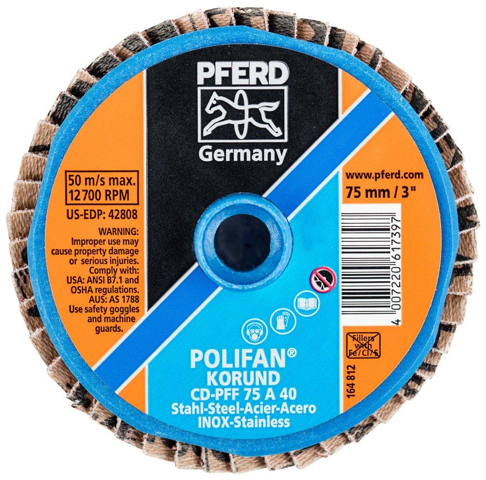Type CD 40 Grit Aluminum Oxide PFERD 42808 Combidisc Quick Change Disc 3 Diameter 12700 RPM Pack of 10