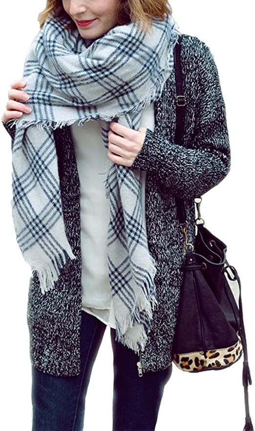 Ladies Check Pattern Blanket Scarf Shawl Stole Oversized Women Gift Good Quality