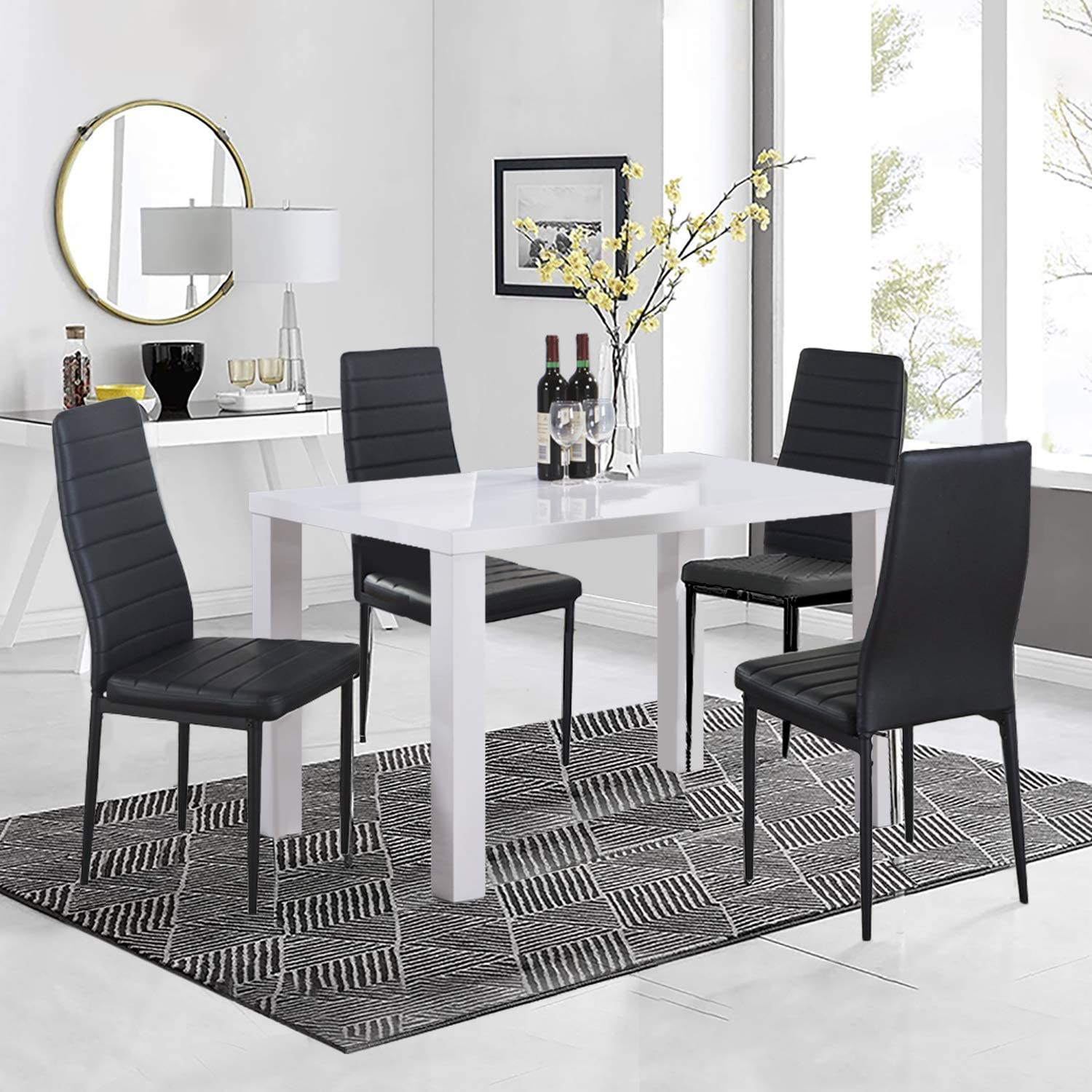 Goldfan High Gloss Dining Table And Chairs Set 4 People Pu Leather Seats Modern Kitchen Table Dining Room Set White Black Amazon Co Uk Kitchen Home