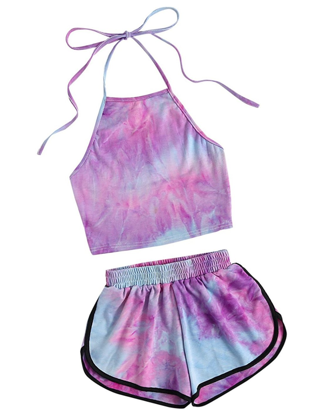 CAIYING Women's 2 Piece Set Halter Crop Top and Shorts Set for Beach