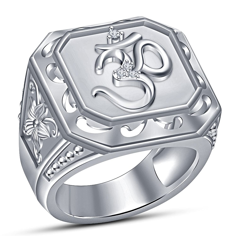 49590cf0291d Vorra moda Ronda Cristal CZ Plata de Ley 925 Chapado en platino OM banda  anillo Chic