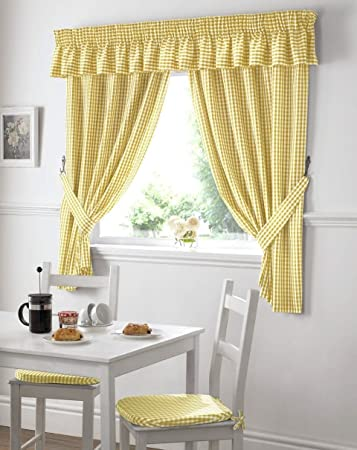 GINGHAM CHECK YELLOW WHITE KITCHEN CURTAINS DRAPES W46 X L54 U0026 VALANCE W132  X L10  Yellow And White Curtains