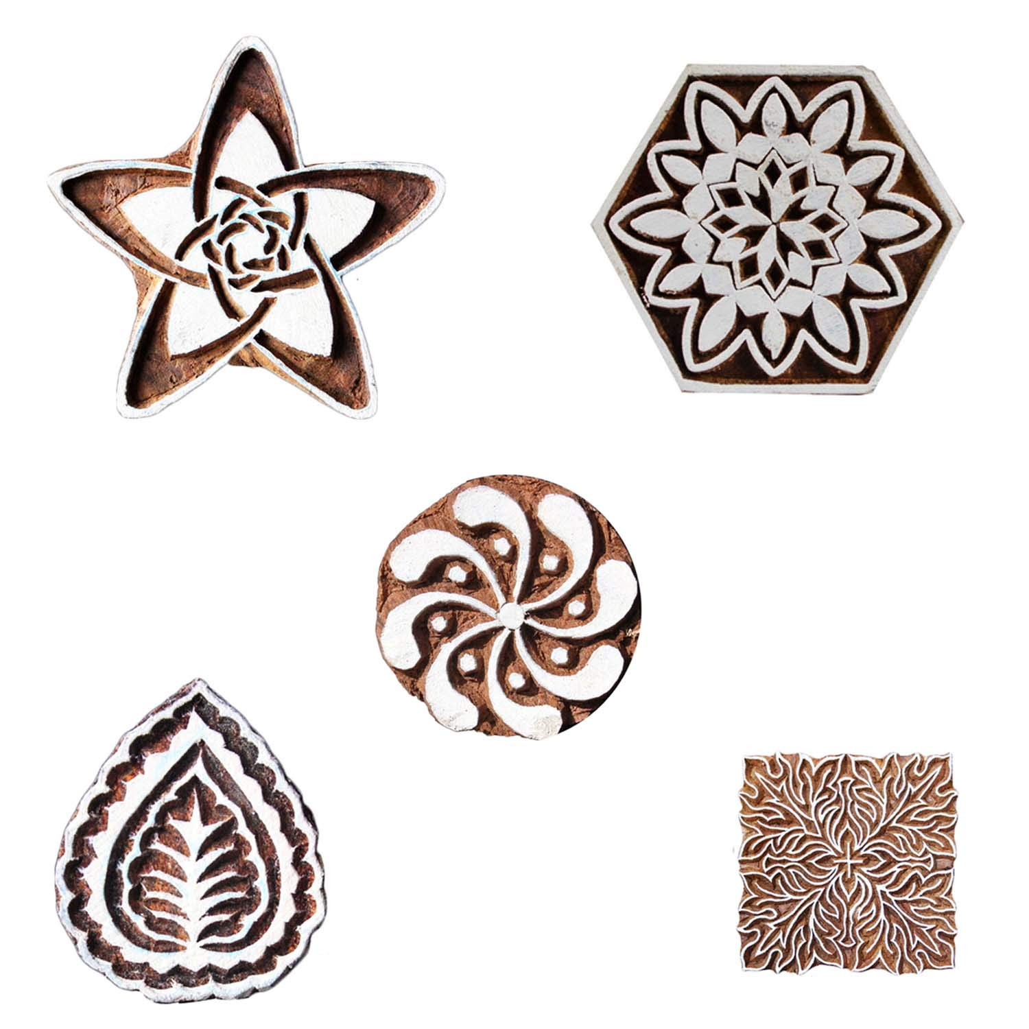 Printing Block Floral Wooden Textile Clay Pottery Craft Heena Tattoo Scrapbook Stamps Pack of 5