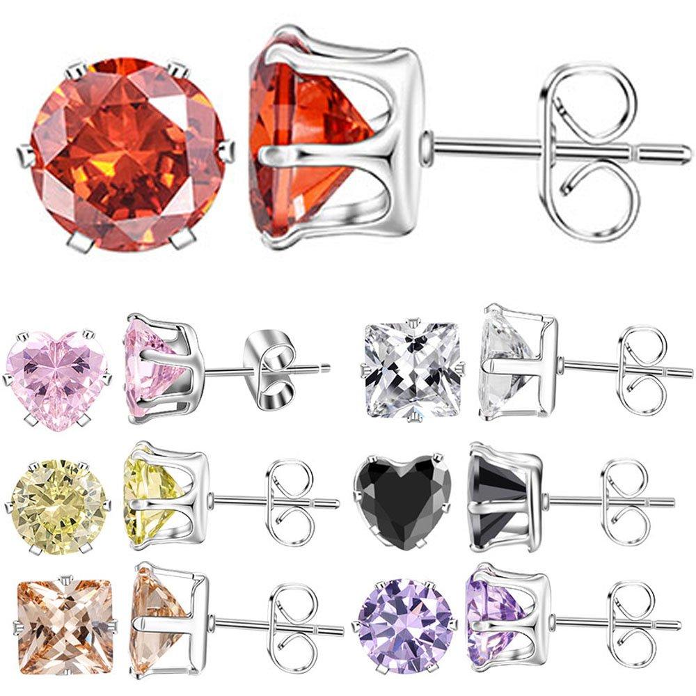 XZP Cubic Zirconia Stud Earrings Set 7 Pair Week Use 316l Stainless Steel Earrings Gift for Women Girls