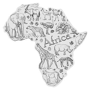 """WAS-11012 Wohnraum Wandtattoo /""""Afrikas Tierwelt als Landkarte/'/' Deko"""
