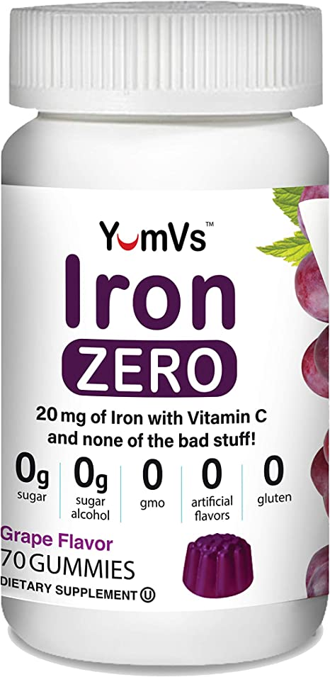 Iron + Vitamin C Zero Gummies by YumVs | Keto Friendly Sugar Free Supplement for Women & Men | 20 mg Iron | Natural Grape Flavor Chewables-70 Count
