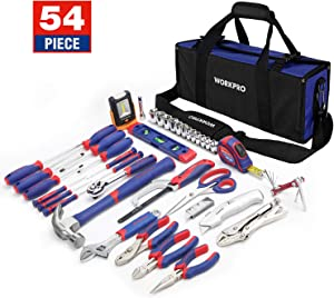 WORKPRO 54-Piece Home Repair Hand Tool Set Basic Household Tool Kit with Portable Bag Perfect for DIY and Home Maintenance Including 3AAA COB Work Light