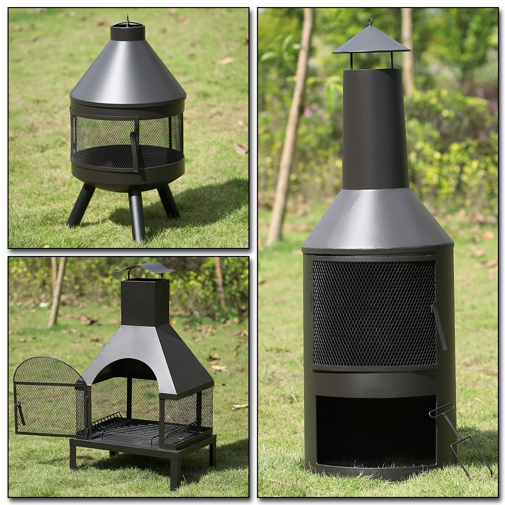 iKayaa Extra Large Chimenea Garden Fire Pit Outdoor Metal Fireplace Heater Patio Wood Burner 600?? Heat-resistant With Ash Tray & Poker: This is a high-quality outdoor fire pit for home use. It features iron construction