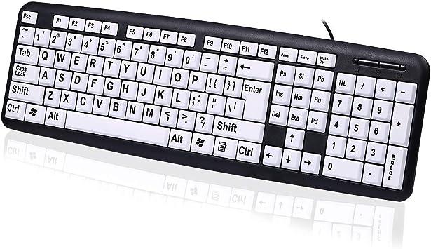 Teclado con Cable USB Veeki con Letra Grande Impresa, Teclas Blancas y Negras, para Personas Que Necesitan y aman el Teclado con Letras Grandes