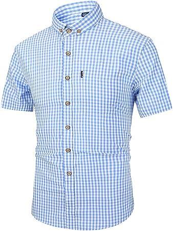 Camisa casual de los hombres Camisa de vestir con botones para hombre Camisa a cuadros de