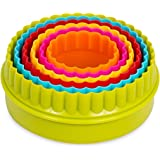 Internet's Best Round Cookie Cutters | Set of 6 | Circle 2 Sided Biscuit Sandwich Fondant Cutter Set | Multi Size and Color | Kid Friendly