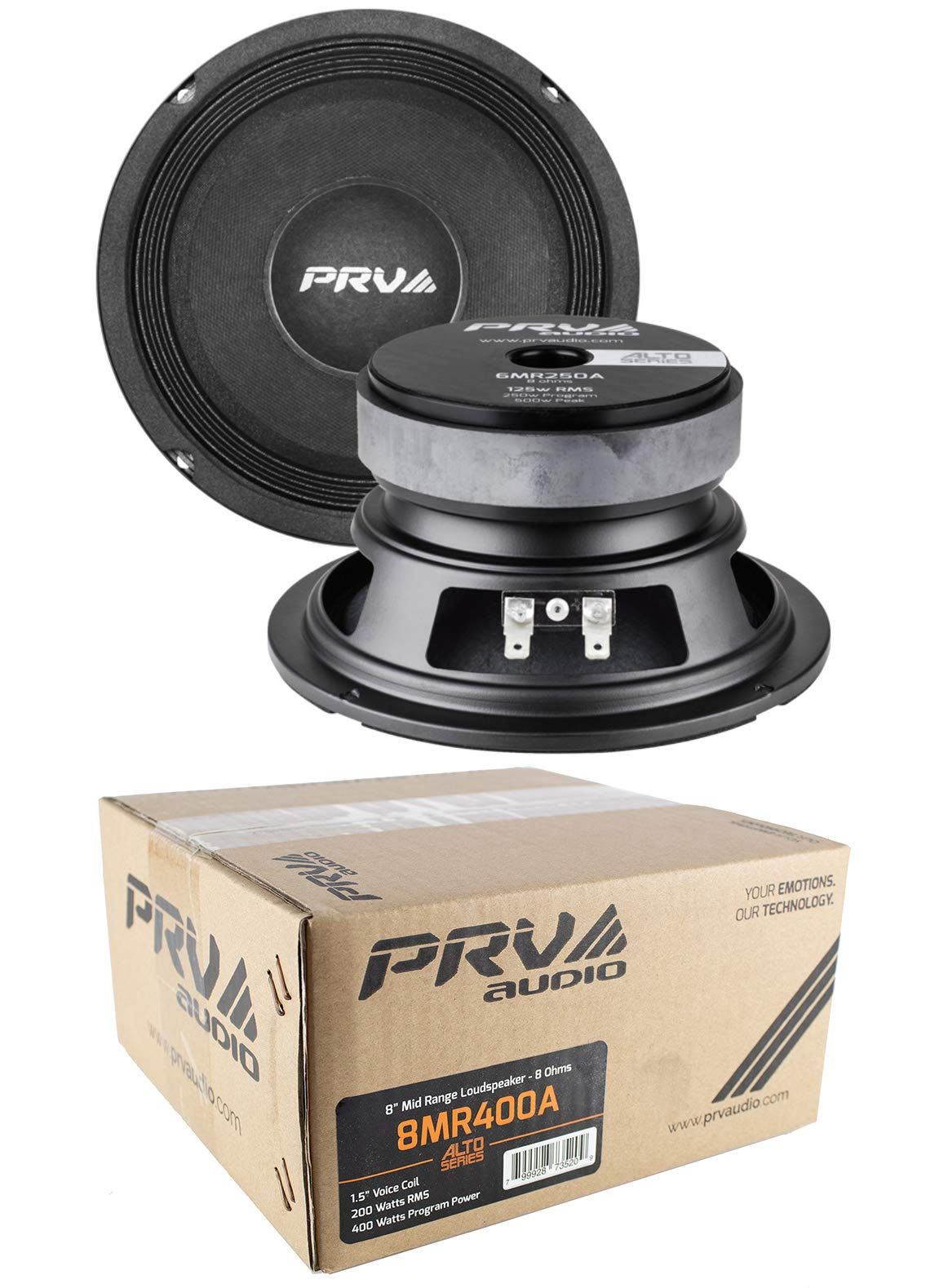 2 x PRV Audio 8MR400A Mid Range 8'' Pro Audio Loud Speaker 8 ohm 800 Watts