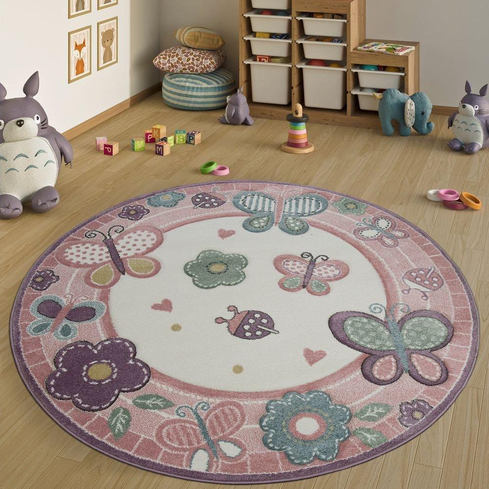 Paco Home Kinderteppich Rund XXL 180 cm Ø 160 cm Ø 120 cm Ø Blumen Schmetterling Rosa, Grösse:Ø 200 cm Rund