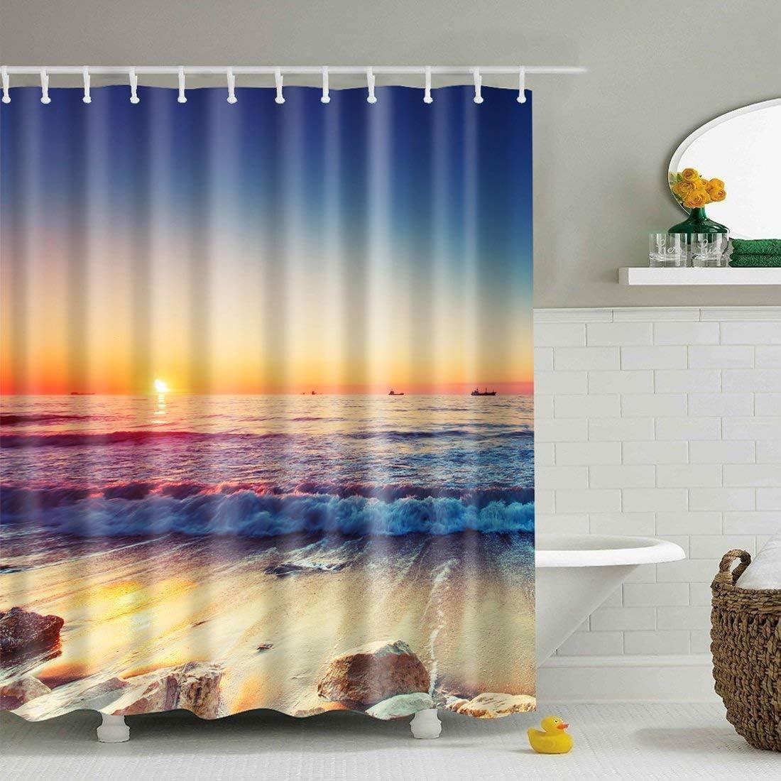 Beach #2 conganci JameStyle26 180 x 180 cm disponibile indiversi motivi antimuffa tenda per doccia con stampa digitale